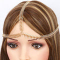 Personality Fashion Woman Fishbone Alloy Chain Gold Plated Punk Headband Hair Accessories