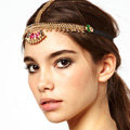 Retro Bohemia Woman Rhinestones Tassel Copper Beads Alloy Chain Elastic Hair Band Accessories