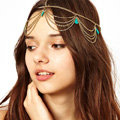 Retro Bohemia Woman Turquoise Alloy Multilayer Waves Tassel Chain Headband Hair Band Accessories
