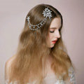 Retro Bridal Wedding Flower Rhinestone Crystal Bead Tassel Bride Headband Hair Clip Accessories