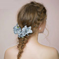 Retro Bridal Wedding Forest girl Blue Cloth Floral Rhinestone Crystal Bride Headband Hair Clip Accessories