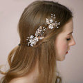 Retro Bridal Wedding Pearl Alloy Floral Leaf Rhinestone Crystal Bride Headband Hair Accessories