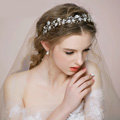 Retro Bridal Wedding Pearl Alloy Floral Rhinestone Crystal Bride Headband Hair Hoop Accessories