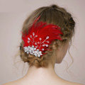 Retro Bridal Wedding Red Feather Rhinestone Crystal Bead Bride Headband Hair Clip Accessories