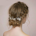 Retro Bridal Wedding Rhinestone Alloy Pearl Clover leaf Crystal Bride Hairpin Hair Accessories