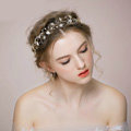Retro Bridal Wedding Rhinestone Alloy Pearl Flower leaf Crystal Bride Hair Headband Gold Plated