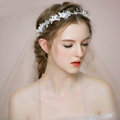 Retro Bridal Wedding Rhinestone Bead Alloy Floral Crystal Pearl Bride Headband Hair Hoop Accessories