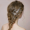 Retro Bridal Wedding Rhinestone Bead Alloy Floral Crystal Pearl Bride Tassel Headband Hair Accessories