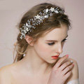 Retro Bridal Wedding Rhinestone Silver Alloy Pearl Flower leaf Crystal Bride Headband Hair Hoop Accessories