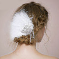 Retro Bridal Wedding White Feather Rhinestone Crystal Tassel Bride Headband Hair Clip Accessories