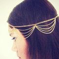 Retro Classic Woman Gold Plated Alloy Multilayer Waves Tassel Chain Headband Hair Band Accessories