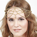 Retro Exaggerated Woman Multilayer Tassel Chain Gold Plated Crystal Pendant Hair Headband Accessories