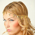 Retro Fashion Woman Alloy Bling Gold Plated leaves Tassel Chain Headband Punk Hair Accessories