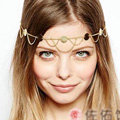 Retro Fashion Woman Alloy Bling Sequins Waves Tassel Chain Headband Punk Hair Accessories