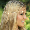 Retro Fashion Woman Alloy Bling Tassel Sequins Double layer Chain Headband Hair Accessories