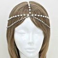 Retro Fashion Woman Alloy Crystal Pearl Multilayer Tassel Chain Hair Headband Accessories