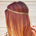 Retro Fashion Woman Bohemia Alloy Sequins Beads Turquoise Multilayer Chain Headband Hair Accessories