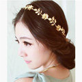 Retro Fashion Woman Gold Plated Crystal Golden Flower Leaves Hair Headband Accessories Dress Party