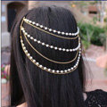 Retro Fashion Woman Golden Alloy Pearl Multilayer Tassel Chain Headband Hair Comb Accessories