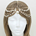 Retro Fashion Woman Golden Alloy Pearl Multilayer Tassel Chain Headband Princess Hair Accessories