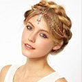Retro Fashion Woman Orange Beads Crystal Pendant Alloy Multilayer Tassel Chain Headband Hair Accessories