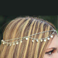 Retro Fashion Woman Silver Alloy Bling Tassel Sequins Double layer Chain Headband Hair Accessories