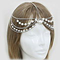 Retro Fashion Woman Silver Alloy Pearl Multilayer Tassel Chain Headband Princess Hair Accessories