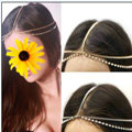 Retro Fashion Woman Silver Alloy Rhinestone Two layer Tassel Chain Headband Princess Hair Accessories