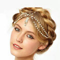 Retro Fashion Woman White Beads Crystal Pendant Alloy Multilayer Tassel Chain Headband Hair Accessories