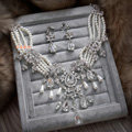 Retro Multilayer Pearl Rhinestone Crystal Necklace Dangle Earrings Set Bridal Wedding Jewelry