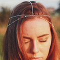 Retro Simple Forest Woman Silver Alloy Copper Beads Two layer Tassel Chain Headband Hair Accessories