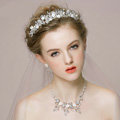 Retro Wedding Bridal Jewelry Alloy Flower Rhinestone Crystal Beads Tiaras Necklace Earrings Set