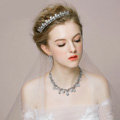 Retro Wedding Bridal Jewelry Alloy Small Dots Rhinestone Crystal Tiaras Necklace Earrings Set