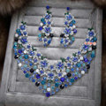 Retro Wedding Jewelry Blue Flower Rhinestone Crystal Necklace Earrings Set Bridal Party Gift