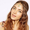 Retro Woman Blue Gem Hands of Fatima Pendant Alloy Multilayer Tassel Chain Headband Hair Accessories