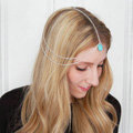 Retro Woman Gold Plated Alloy Water drops Turquoise Tassel Multilayer Hair Headband Accessories
