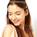 Retro Woman Gold Plated Multilayer River Island Leaf Tassel Chain Stretch Head Band Hair Accessories