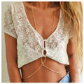 Simple Alloy Gold Plated Body Chain Layering Bodychain Delicate Bikini Chain Necklace Girlfriend Gift