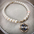 Simple Banquet Wedding Jewellery Bridal Flower Rhinestone Crystal Pearls Necklace
