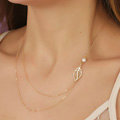 Simple Fashion Women Forest girl Two layer Gold-plated Metal Leaves Pearl Necklace Clavicle Chain