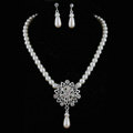 Simple Wedding Bridal Jewelry Rhinestone Flower Pearl Pendant Necklace Earrings Set Bride Party