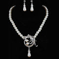 Simple Wedding Bridal Jewelry Rhinestone Hollow Flower Pearl Pendant Necklace Earrings Set