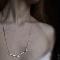 Unique Fashion Simple Women Silver Gold-plated Metal Geometric Shape Necklace Clavicle Chain