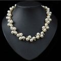 Vintage Banquet Pearl Rhinestones Crystal Bib Necklace Wedding Bridal Jewelry