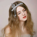 Vintage Bridal Wedding Alloy Leaf Tassel Rhinestone Crystal Bead Bride Headband Hair Accessories