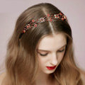 Vintage Bridal Wedding Alloy Red Flower Rhinestone Crystal Bride Headband Hair Accessories