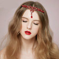 Vintage Bridal Wedding Alloy Rhinestone Tiaras Red Peach heart Crystal Crown Hair Accessories