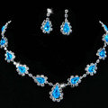 Vintage Wedding Bridal Jewelry Alloy Blue Rhinestone Water-drop Statement Necklace Earrings Set