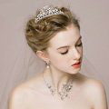 Vintage Wedding Bridal Jewelry Alloy Butterfly Pearl Rhinestone Crystal Tiaras Necklace Earrings Set