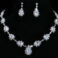 Vintage Wedding Bridal Jewelry Alloy Clear Rhinestone Water-drop Statement Necklace Earrings Set